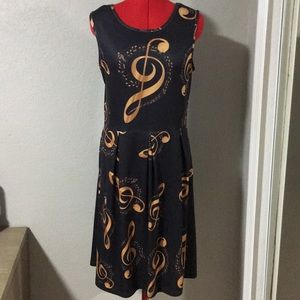 4/$25 Aster Music Note Skater Dress size small